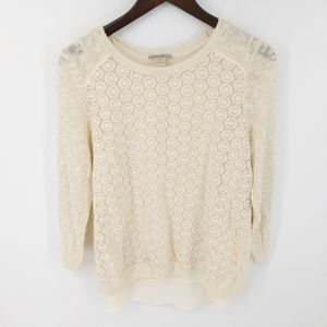 Lucky Brand Knit Crochet Front Sweater Slit Back M